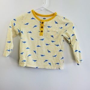 Old Navy Yellow Striped Whale Print Toddler 4T